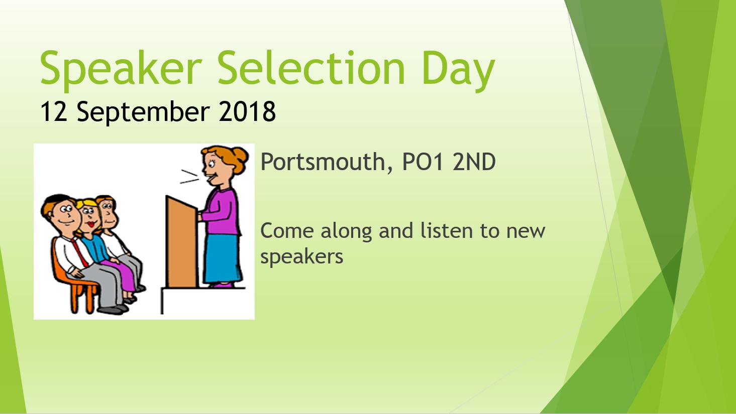 Speaker Selection Day Sept