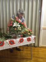 October Social Day - member Pat Webb demonstrating flower arranging
