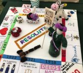 """Resolutions"" game created by our craft group. Winner in the WI Tent at the Romsey Show, Sept 2018"
