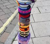 Abbotswood Romsey WI yarn bombed bollard cover 2017