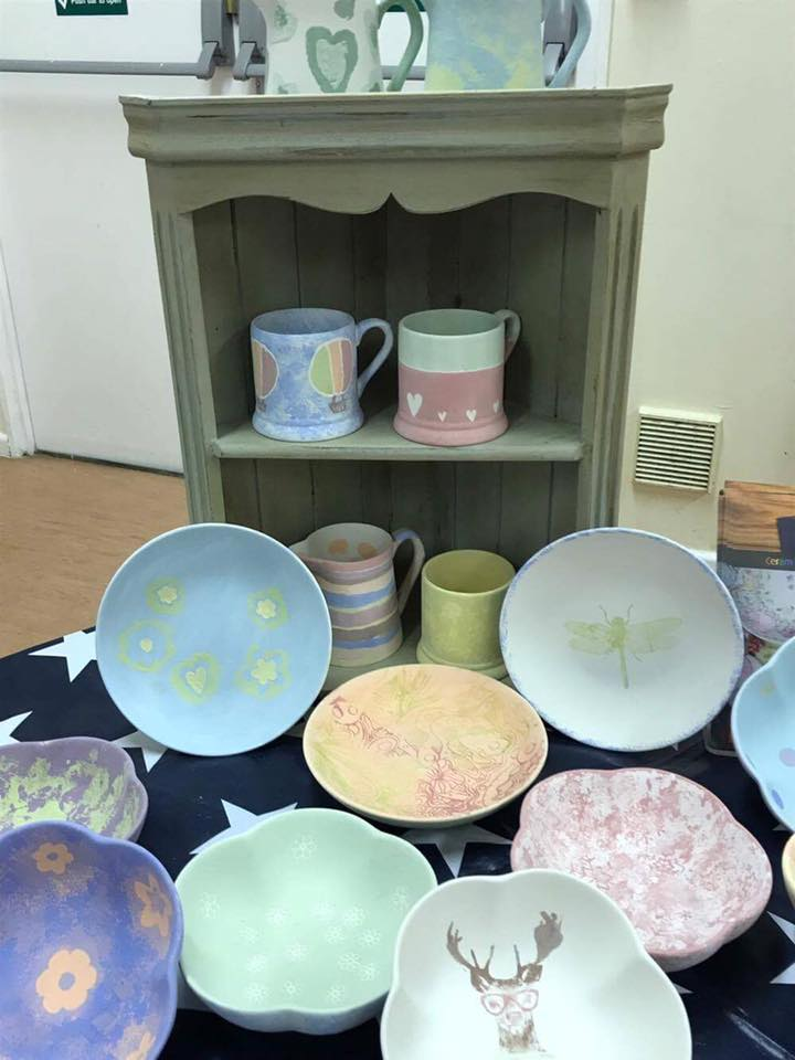 FInished creations from our Pots2Paint evening