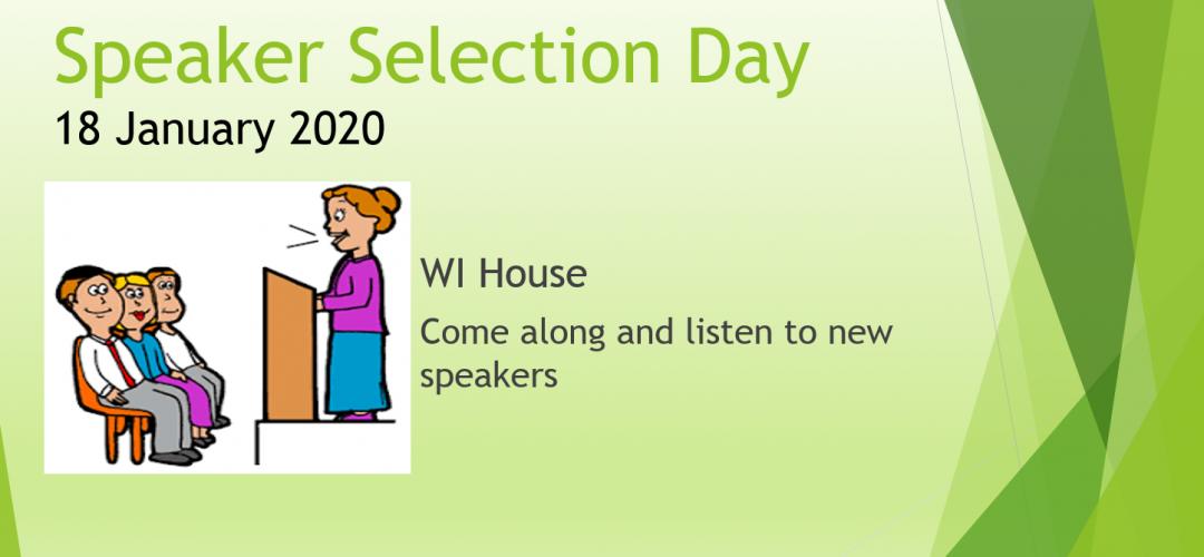 Speaker Selection Day Jan