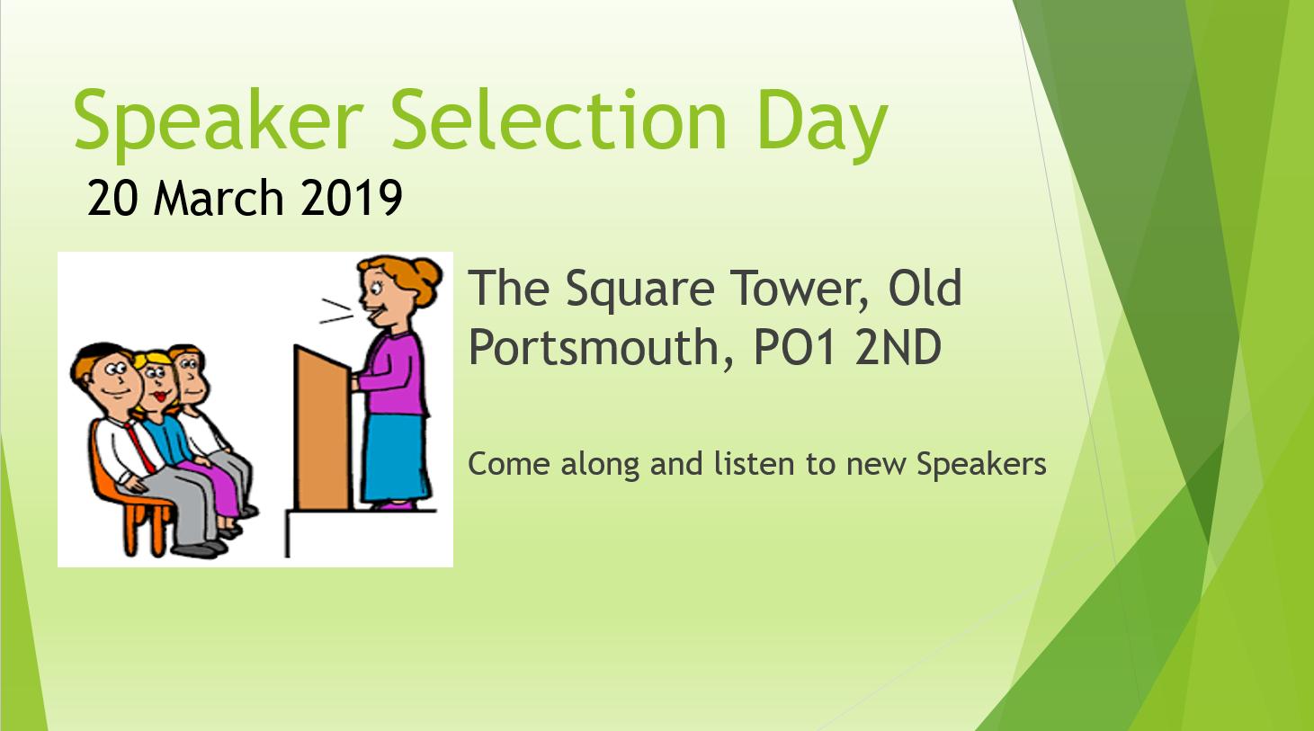 Speaker Selection Day Mar