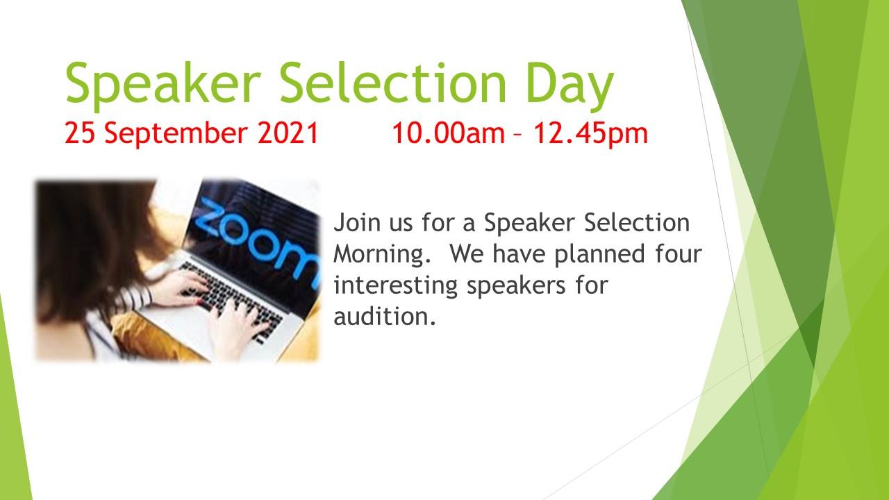 Speaker Selection Day (Sept 2021)