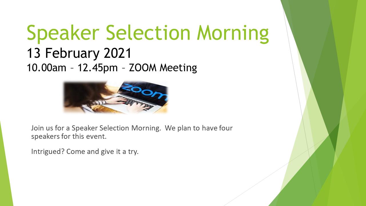 Speaker Selection Morning Feb 2021