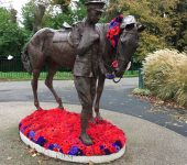 Abbotswood Romsey WI poppy display around the War Horse statue in Romsey Memorial Park. November 2018.
